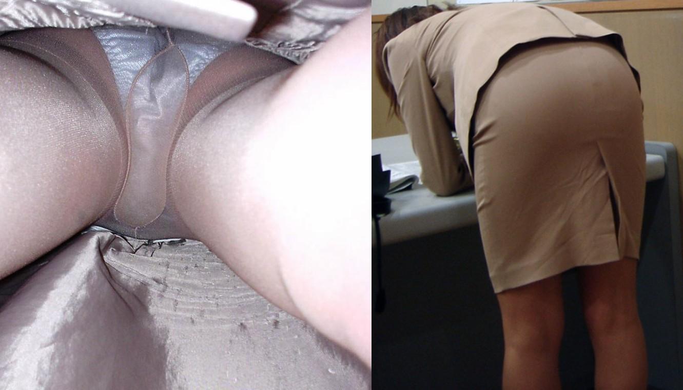 【働く女性のパンチラエロ画像】一生懸命仕事して、垂らした汗水帯びたOLの下半身に寄ってみましたがwww