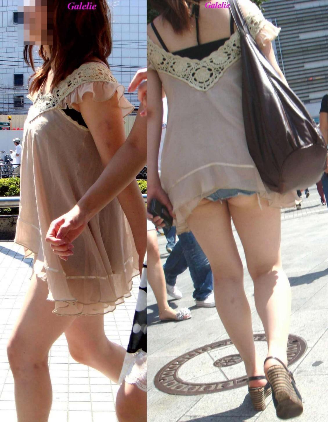 【着尻エロ画像】街中なのに尻ハミ出してるって凄い話(*´Д`)ホットパンツ姿の着尻素人たち 03