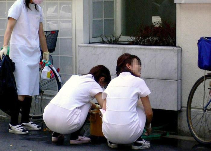 【働く女性微エロ画像】白衣で隠した本性や如何に!?街で見かけた制服姿の看護師さん(´∀` )