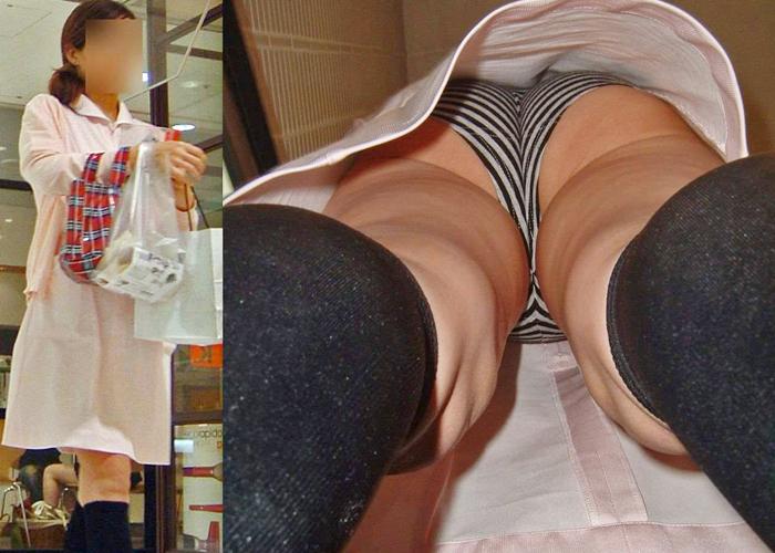 【パンチラエロ画像】空気に直接触れて涼しそうな生パン女子の肌具合も見ちゃう逆さ撮り(*´Д`)