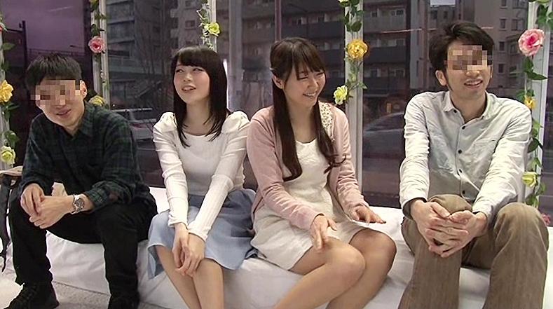 【MM号エロ動画】ダブルデート中の大学生カップルに同室スワッピングをお願い!初の経験に胸高鳴ってる模様w