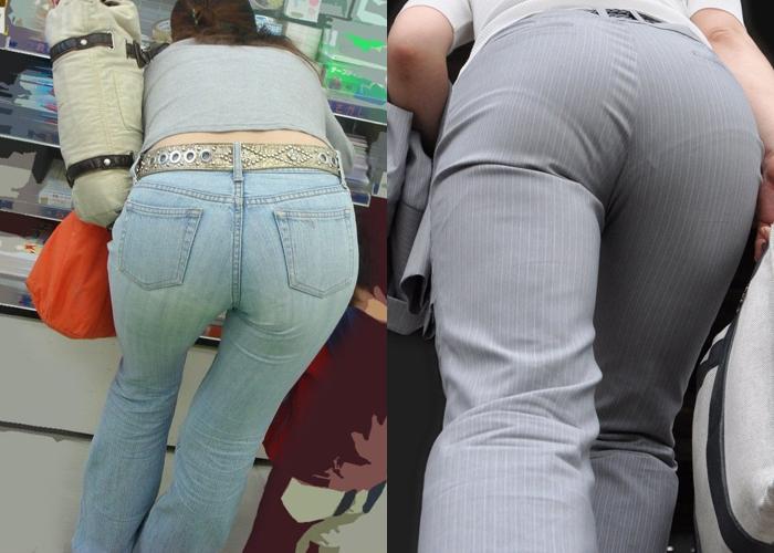 【着尻エロ画像】どちらの尻がより卑猥?パンツスーツとデニム下半身を見比べ(*´Д`)