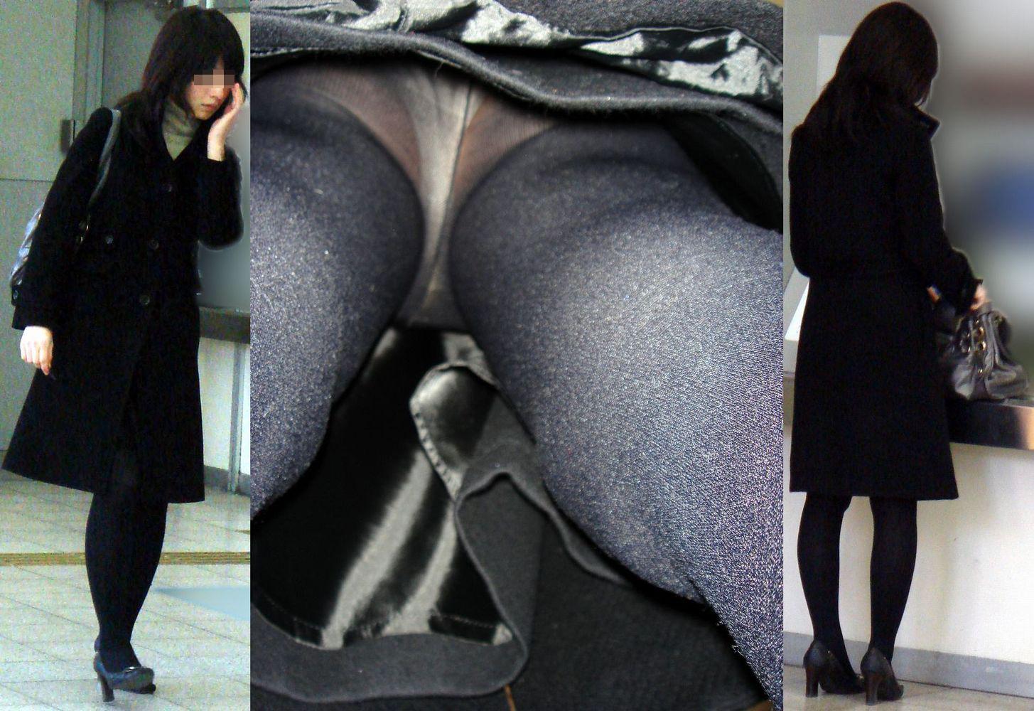 【パンチラエロ画像】その奥はどんな香りが…嗅覚的にも欲しいパンスト着衣の逆さ撮り(;´Д`)