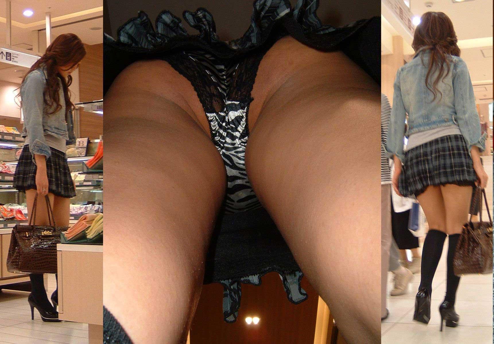 【パンチラエロ画像】下着及び尻のほぼ全体が暴かれる!無敵の逆さ撮りパンチラ(;´Д`)