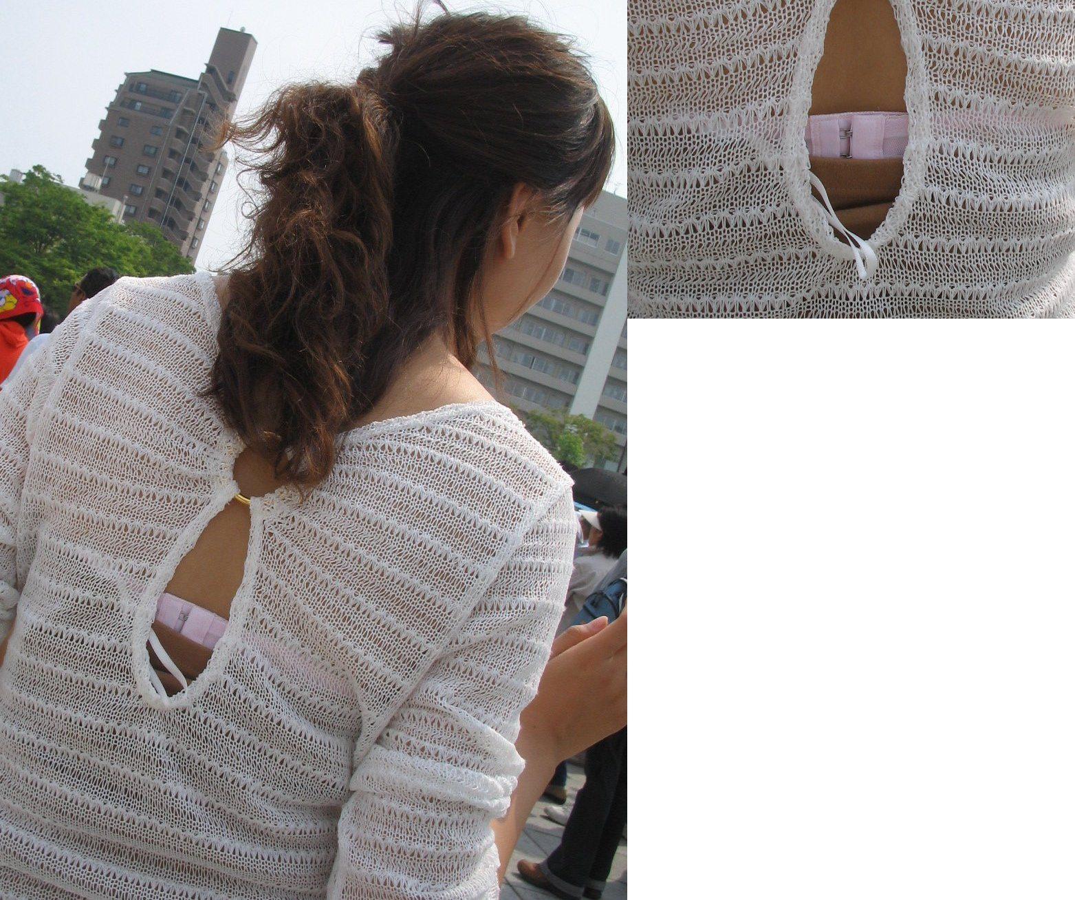 【ブラチラエロ画像】紐が少し見えるだけでもかなり…パンツと十分タメ張れるブラチラ(*´д`*)
