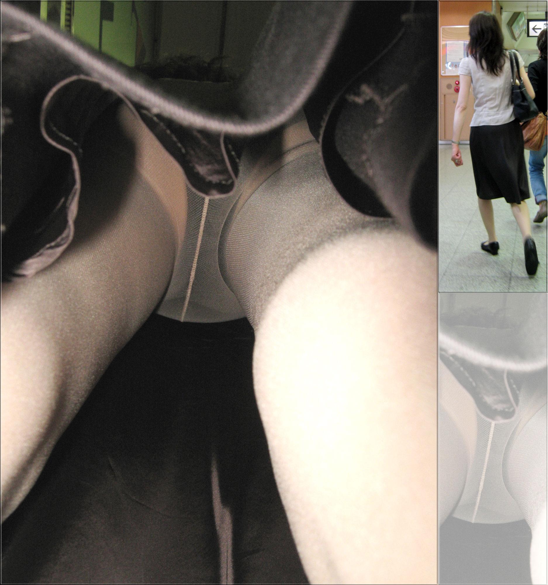 【パンチラエロ画像】高くついた靴カメラだからw確実に尻まで拝んだ逆さ撮り(*´д`*)
