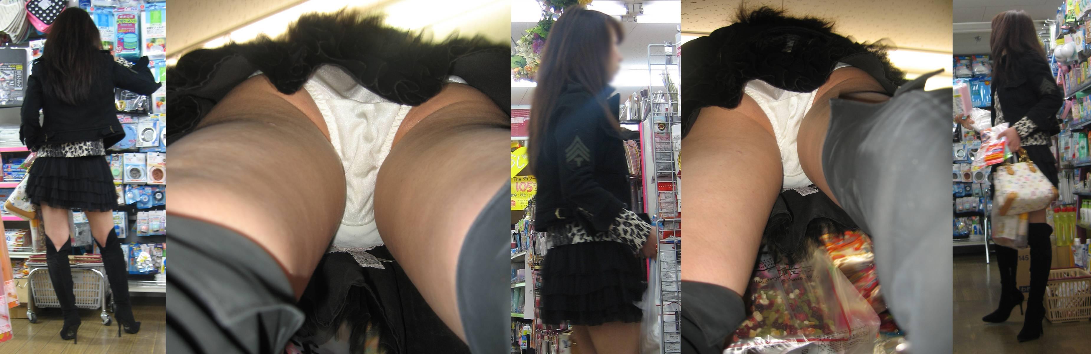 【パンチラエロ画像】どんなスカートも真下からなら丸見え!隠し事不可の逆さ撮り(;´Д`)