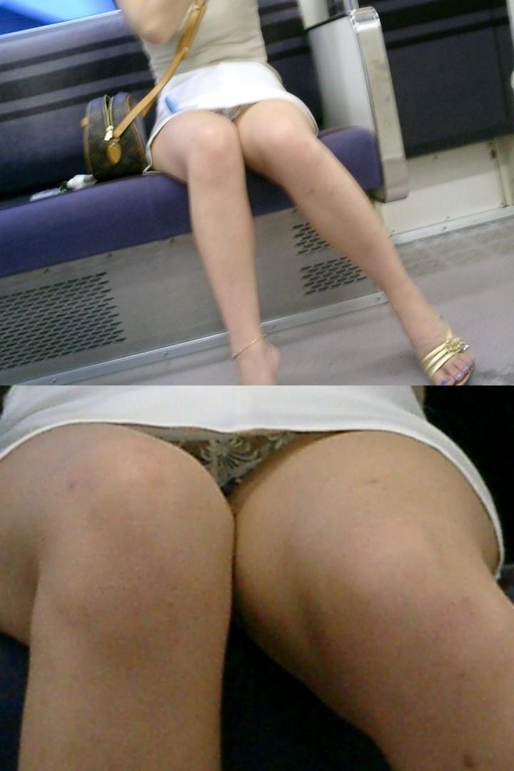 【パンチラエロ画像】毎日乗る人でも月数回w貴重な電車内の対面チラ見え(;´Д`)