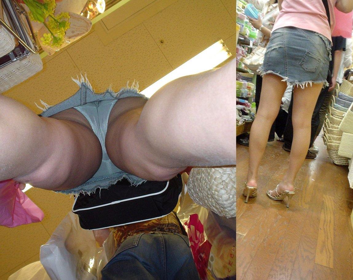 【パンチラエロ画像】脚開いちゃうとお尻だけじゃ済まない逆さ撮りパンチラ(;´Д`)