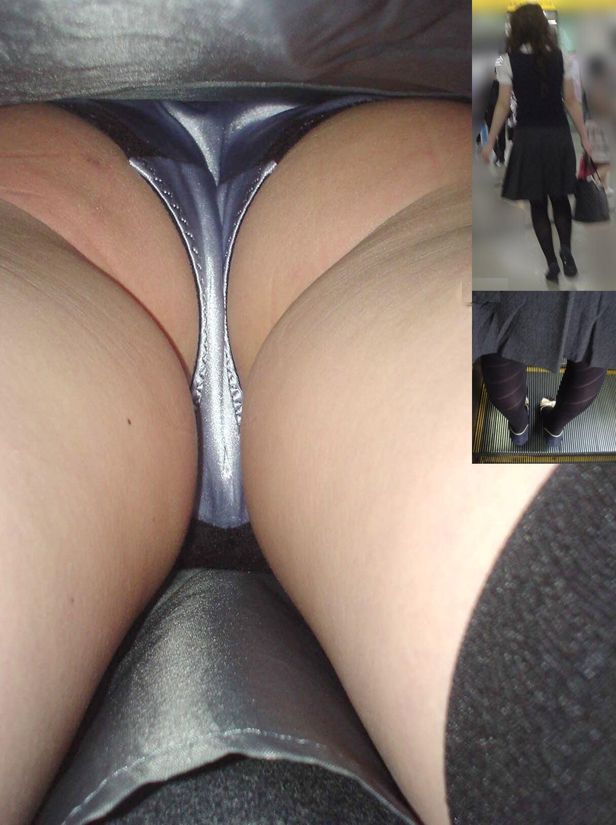 【パンチラ画像】現代の女なら必ず持ってるそして履いてるwTバック逆さ撮り(*´д`*)