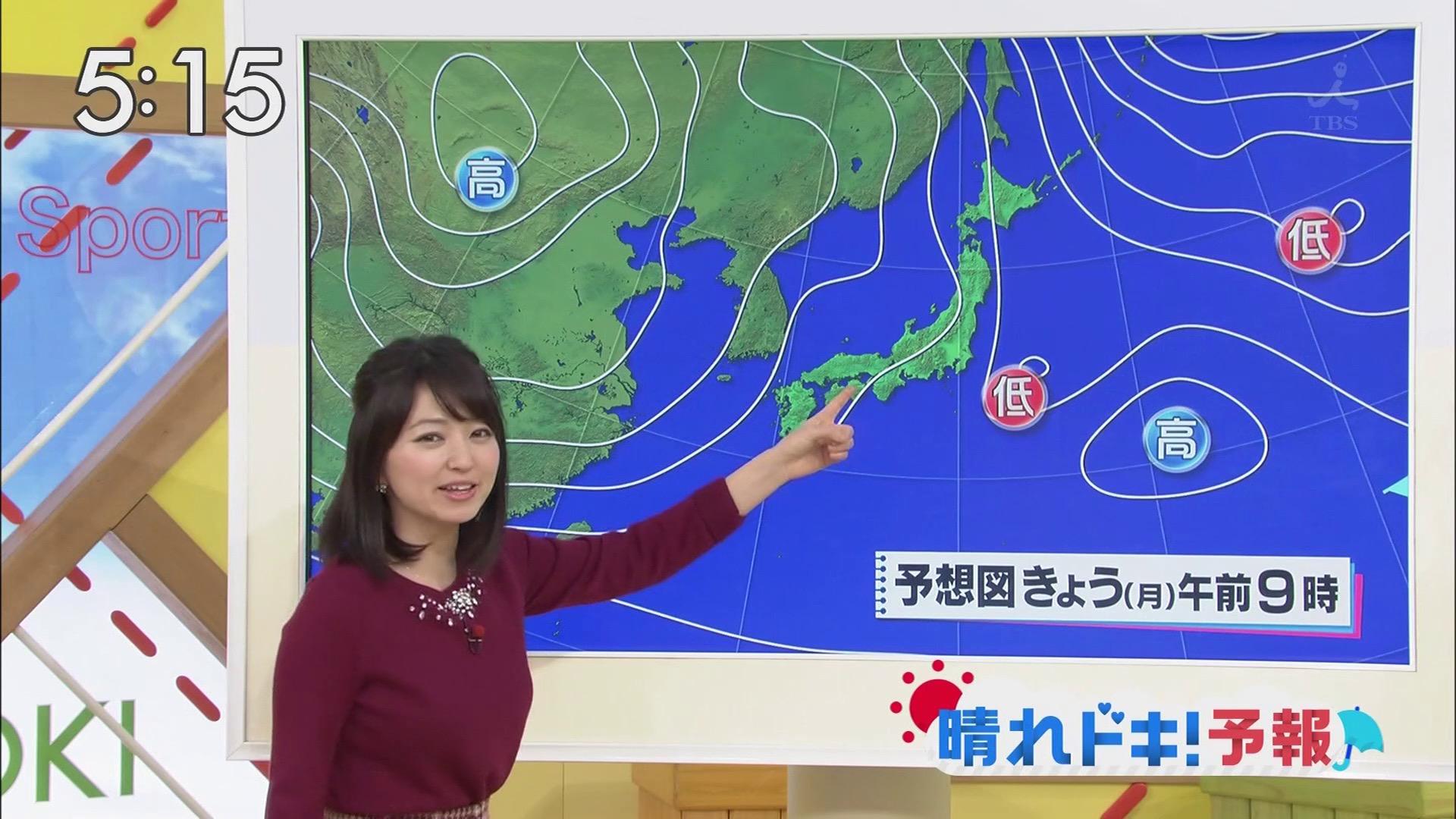 【TVエロ画像】(※GIF有)明日が雨と見逃しそうな着衣巨乳!お天気キャスター福岡良子さんの膨らみ(*´Д`)