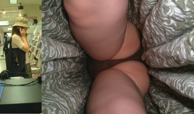 【パンチラエロ画像】いつ食い込み直すか教えてw逆さ撮りパンチラ(;´∀`)