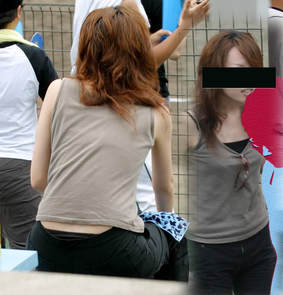 【パンチラエロ画像】座れば鉄板!上側でも下着なのは確かなローライズチラ(*´д`*)