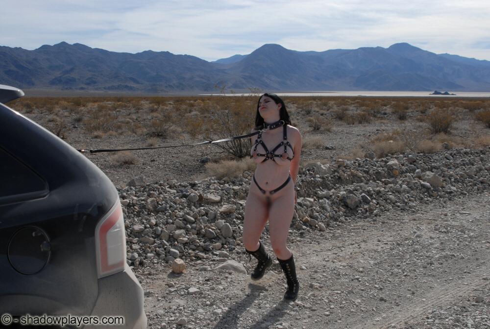 【露出エロ画像】見つけた他人も修羅場w拘束状態で野外に出された海外M女(゜ロ゜ノ)ノ