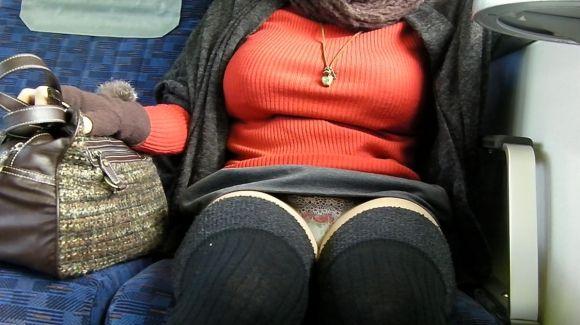 【電車パンチラエロ画像】向かいの席の女性のスカートの中が見えるように背をかがんでしまうのはオレだけか?