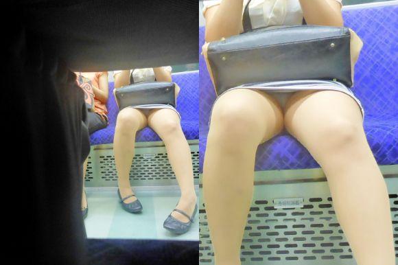 【電車パンチラエロ画像】向かいの席の女性のスカートの中が見えるように背をかがんでしまうのはオレだけか? 18