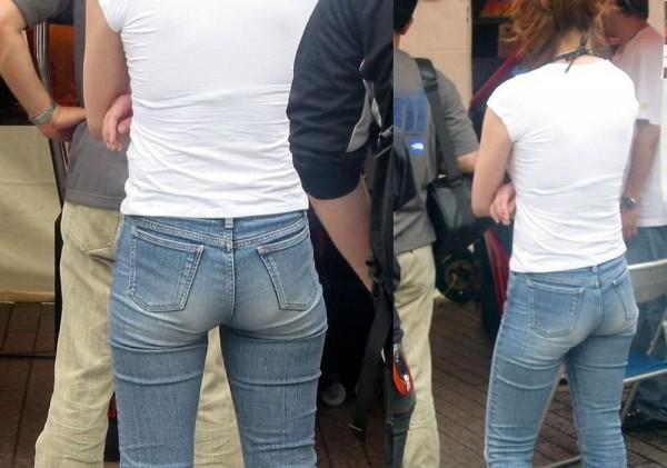 【デニムエロ画像】女性の身体の線がバッチリ見えるし、大きい尻ならなおさら良い! 02