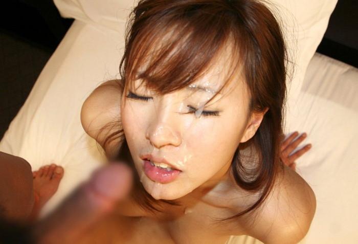 【顔射エロ画像】ドロッドロのザーメンで女の子顔、汚したったwww 03