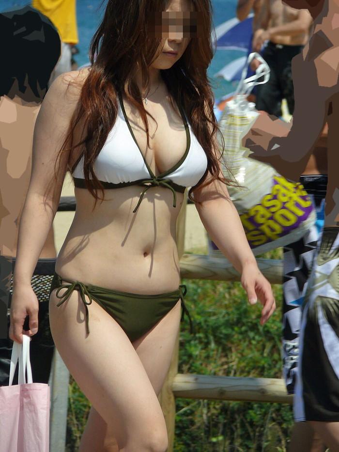 【素人水着エロ画像】ビーチで!プールではしゃく生々しい水着の素人娘! 09