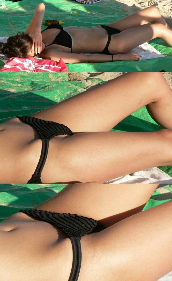【水着エロ画像】神の悪戯か!?ビーチで偶然に捉えた素人娘のハプニング! 05