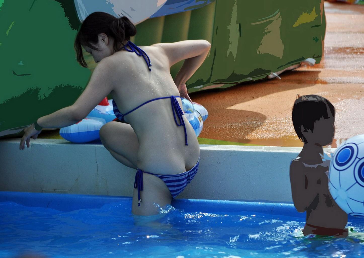 【水着ハプニングエロ画像】ビーチでプールでエロハプニング!夏を先取りだぜ!